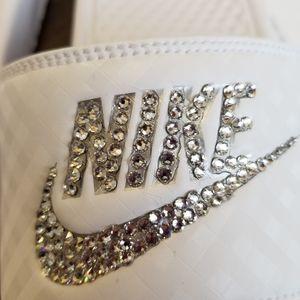 Nike Shoes - Nike slide sandals white bling custom diamond